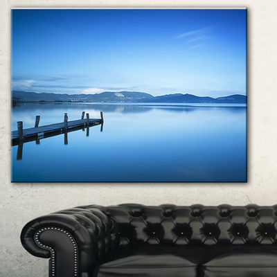 Designart Bright Blue Sky With Pier Seascape Canvas Art Print - 3 Panels