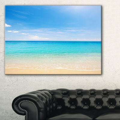 Design Art Bright Blue Tropical Beach Seashore Photo Canvas Art Print - 3 Panels