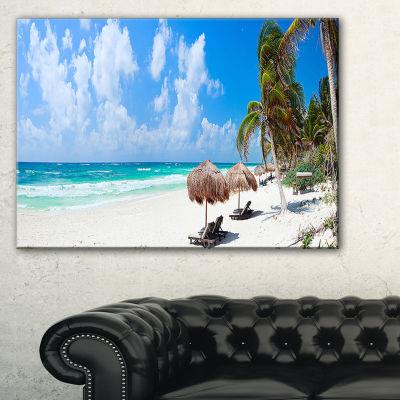 Designart Bright Caribbean Beach Abstract CanvasArt Print
