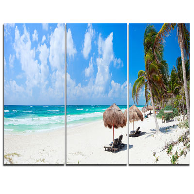 Designart Bright Caribbean Beach Abstract CanvasArt Print - 3 Panels