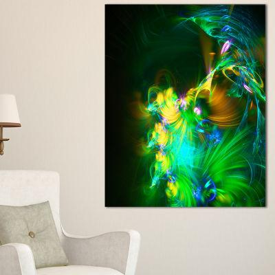 Designart Bright Green Fractal Flower In Dark Floral Canvas Art Print - 3 Panels
