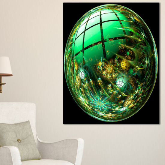 Designart Bright Green Fractal Sphere Abstract Canvas Art Print