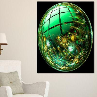 Designart Bright Green Fractal Sphere Abstract Canvas Art Print - 3 Panels
