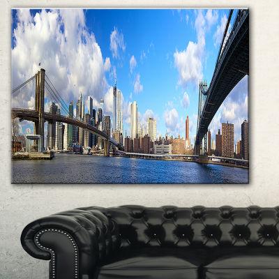 Designart Bright Manhattan Day Panorama CityscapePhoto Canvas Print