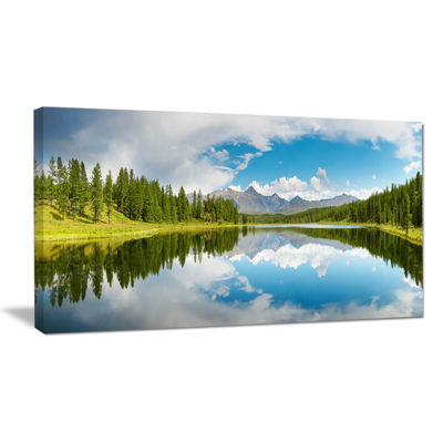 Designart Bright Mountain Lake Panorama LandscapePhotography Canvas Print