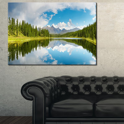 Designart Bright Mountain Lake Panorama LandscapePhotography Canvas Print - 3 Panels
