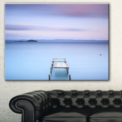 Designart Bright Purple Sky Seascape Canvas Art Print - 3 Panels