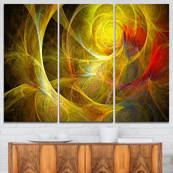 Design Art Bright Yellow Stormy Sky Abstract CanvasArt Print - 3 Panels