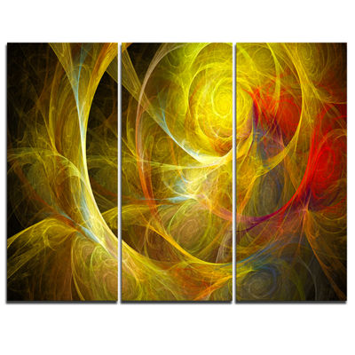 Designart Bright Yellow Stormy Sky Abstract CanvasArt Print - 3 Panels