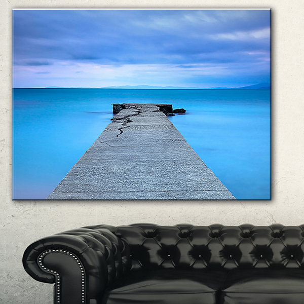 Designart Broken Concrete Jetty Seascape Canvas Art Print - 3 Panels