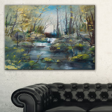 Designart Brook And Rocks Oil Painting LandscapePainting Canvas Print
