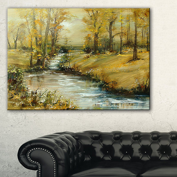 Designart Brook In Autumn Oil Painting LandscapePainting Canvas Print - 3 Panels