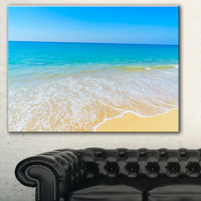 Designart Calm Blue Sea Waves Seascape Canvas ArtPrint - 3 Panels
