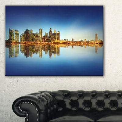 Designart Calm Singapore Skyline Cityscape Photography Canvas Print - 3 Panels