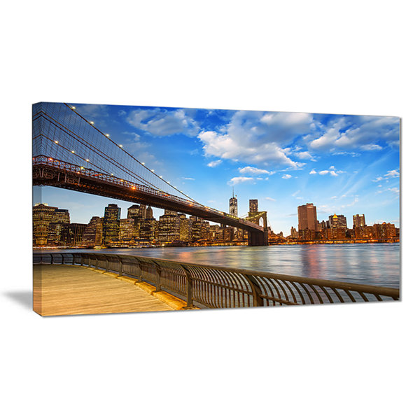 Designart Calm Sky Over Brooklyn Bridge CityscapePhoto Canvas Print