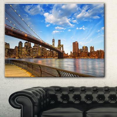 Designart Calm Sky Over Brooklyn Bridge CityscapePhoto Canvas Print - 3 Panels