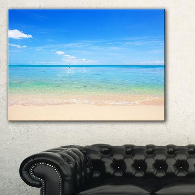 Designart Calm Waves At Tropical Beach Seashore Photo Canvas Print - 3 Panels