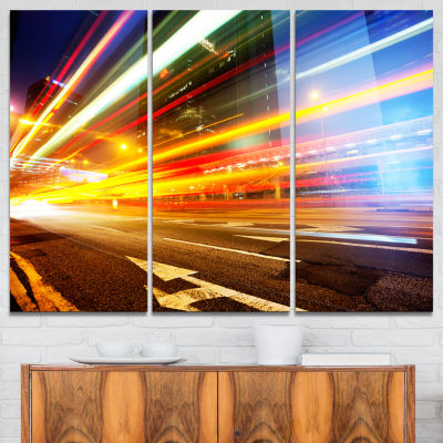Designart Car Light Trails In Hong Kong CityscapePhoto Canvas Print - 3 Panels