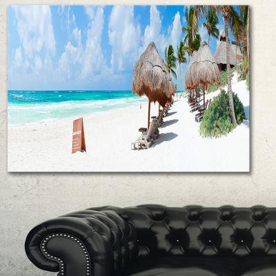 Designart Caribbean Beach Panorama Landscape Photography Canvas Print