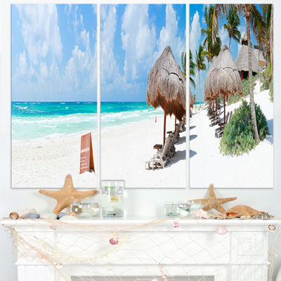 Designart Caribbean Beach Panorama Landscape Photography Canvas Print - 3 Panels