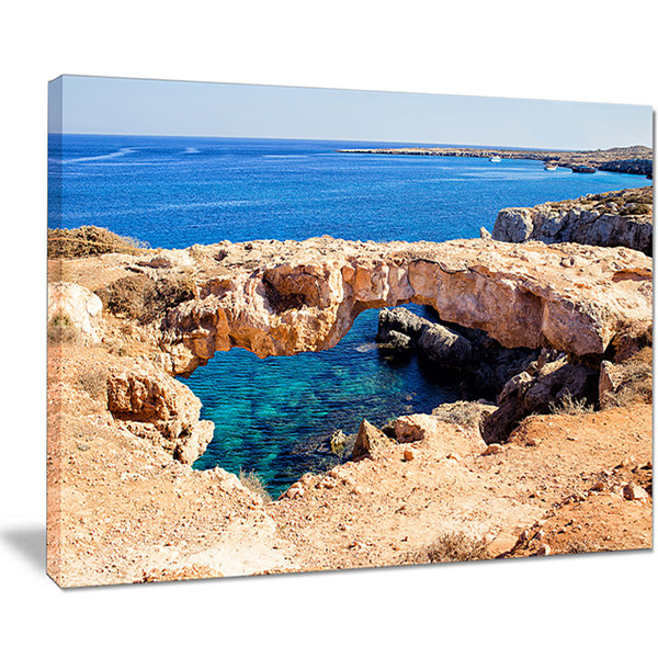 Designart Cavo Cape Greco Natural Bridge LandscapePhotography Canvas Print