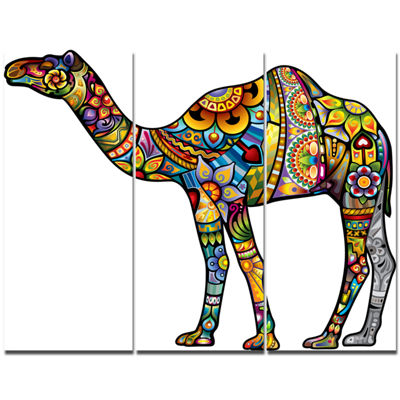 Designart Cheerful Camel Animal Canvas Art Print-3Panels