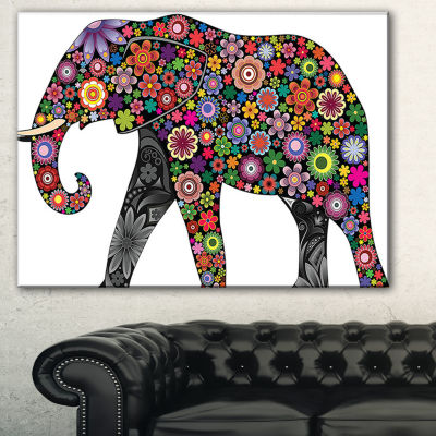 Designart Cheerful Elephant Animal Canvas Art Print
