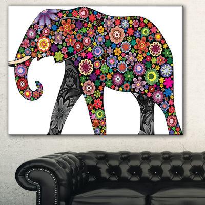 Designart Cheerful Elephant Animal Canvas Art Print - 3 Panels