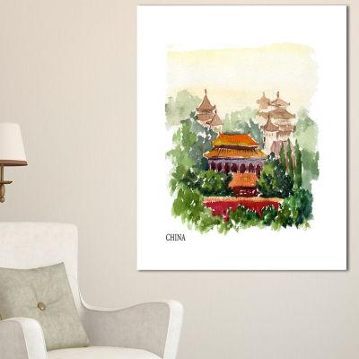 Designart China Vector Illustration Cityscape Canvas Art Print
