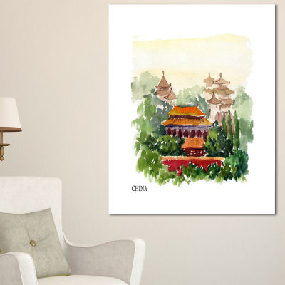 Designart China Vector Illustration Cityscape Canvas Art Print - 3 Panels