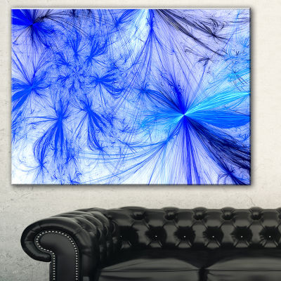 Designart Christmas Fireworks Blue Abstract PrintOn Canvas