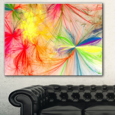 Designart Christmas Fireworks Colorful Abstract Print On Canvas - 3 Panels