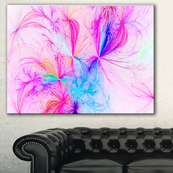 Designart Christmas Fireworks Pink Abstract PrintOn Canvas