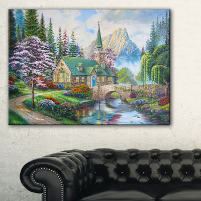 Designart Church In Forest Oil Painting LandscapePainting Canvas Print - 3 Panels