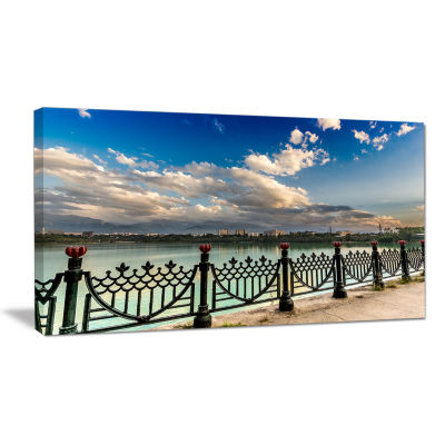 Designart City Lake Under Clouds Cityscape Photography Canvas Print