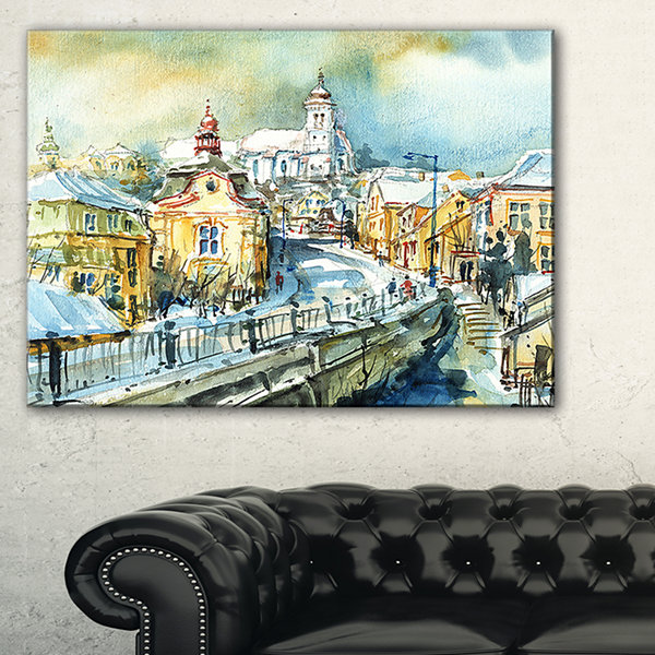 Designart City Of Churches Watercolor Cityscape Painting Canvas Print - 3 Panels