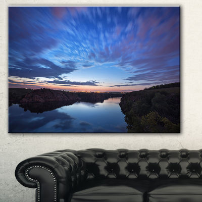 Designart Clouds Reflection In River Landscape Photography Canvas Print - 3 Panels