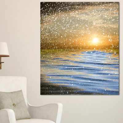 Designart Clouds With Reflection In Water SeashorePhoto Canvas Art Print - 3 Panels