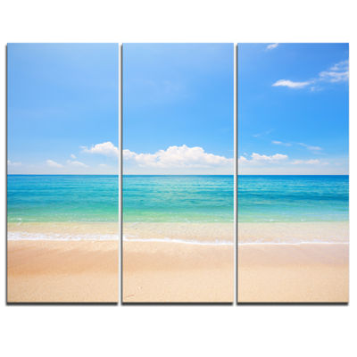 Designart Cloudy Horizon Over Beach Seashore PhotoCanvas Print - 3 Panels