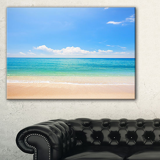 Designart Cloudy Horizon Over Beach Seashore PhotoCanvas Print - 3 Panels