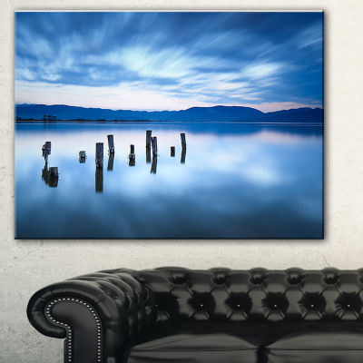 Designart Cloudy Sky Above Lake Seascape Canvas Art Print - 3 Panels