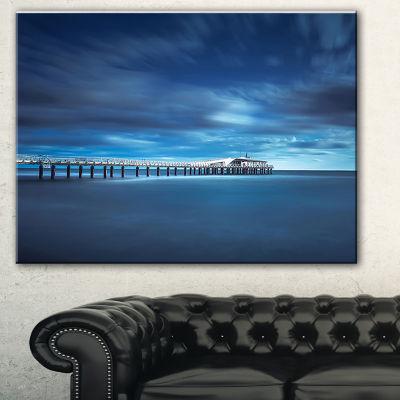 Designart Cloudy Sky Calm Blue Waters Seascape Canvas Art Print - 3 Panels