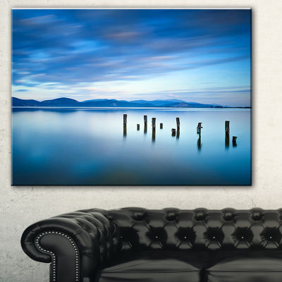 Designart Cloudy Sky In Blue Sea Seascape CanvasArt Print - 3 Panels