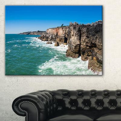 Designart Coastline Of Cascais Seascape Photography Canvas Art Print - 3 Panels