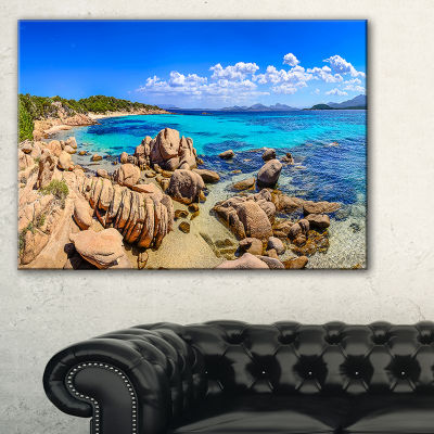Designart Coastline Panorama Beach Photography Canvas Art Print - 3 Panels