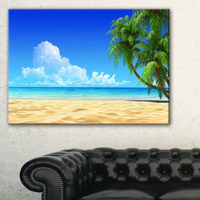 Designart Coconut Palms Bent Into Beach SeashoreCanvas Art Print