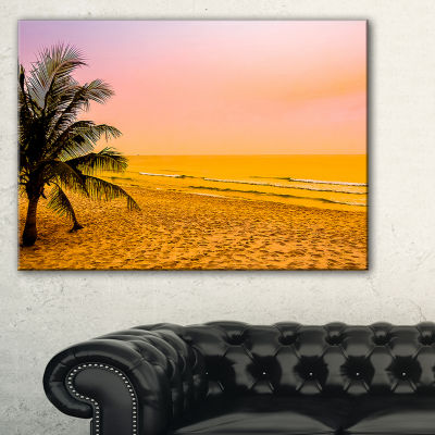 Designart Coconut Tree Silhouette Landscape Photography Canvas Art Print - 3 Panels