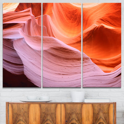 Designart Color Layers In Antelope Canyon Landscape Photography Canvas Print - 3 Panels