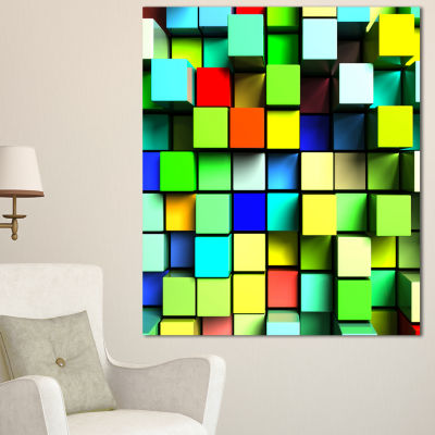 Designart Colored 3D Cubes Wall Design Abstract Canvas Art Print