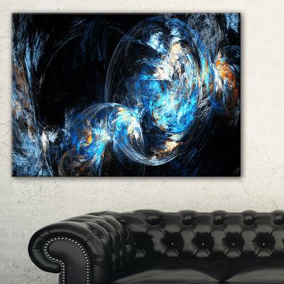 Designart Colored Smoke Blue Abstract Canvas ArtPrint - 3 Panels